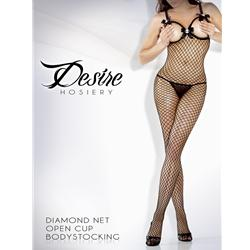 FAN2020XBLKQ 1 - Open Cup Body Stocking W/ Cameo Black Queen