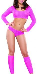 MSB445PINSM 1 150x300 - Crop Top, Boy Shorts and Leg Warmer Set Pink S/M
