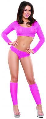 MSB445PINSM 1 - Crop Top, Boy Shorts and Leg Warmer Set Pink S/M