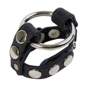 DJ200201 1 300x300 - Black Leather English Cock And Ball Cage