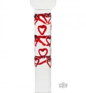 ENAECQ59972 2 275x300 - Adam and Eve Red Hearts Glass Dildo