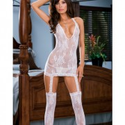 BD0074 WH OS 180x180 - Diamond net halter open crotch bodystocking (thong not included) black o/s