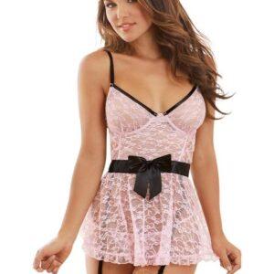 CNVELD DG10020 BP X0 21485892752 300x300 - Floral Lace Babydoll, Garters & G-String Black Pink XL