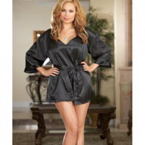 CNVELD DG3717 BK X25620cb1f4b000 300x300 - Charmeuse Short Kimono Robe, Chemise Black 1X/2X