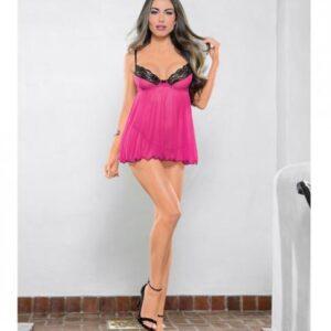 CNVELD EBC36518 BRP OS58c28776a0862 300x300 - Babydoll & G-String Raspberry Pink, Black O/S