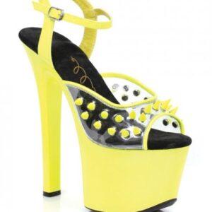 "CNVELD ESS711 YL 105253d7dda3a35 300x300 - Ellie Shoes Solar 7"" Neon Platform Black Light Reactive Spikes Yellow Ten"