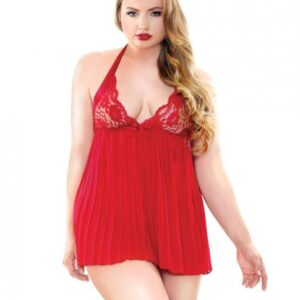 CNVELD FTC205 RD X455f5496eb5bf0 300x300 - Valerie Pleated Babydoll & G-String Red 3X/4X