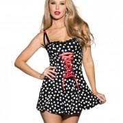 CNVELD SOHSS738 BK S05a55f2769d95e 180x180 - Heart Printed Dress Front Corset Detail Black Md